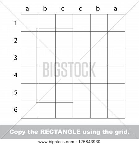 Finish the simmetry picture using grid sells, vector kid educational game for preschool kids, the drawing tutorial with easy game level for half of Square.