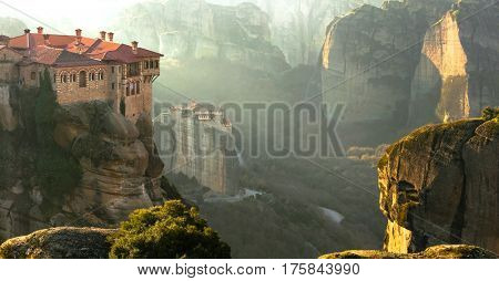Serene morning in impressive Meteora monasteries. Central Greece