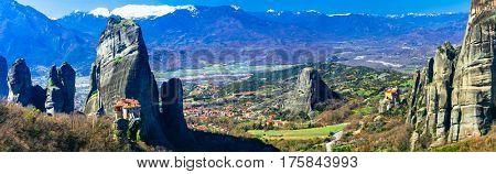 Breathtaking monasteries of Meteora. Central Greece