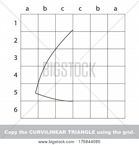 Finish the simmetry picture using grid sells, vector kid educational game for preschool kids, the drawing tutorial with easy game level for half of Curvilinear Triangle.