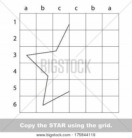 Finish the simmetry picture using grid sells, vector kid educational game for preschool kids, the drawing tutorial with easy game level for half of Star.