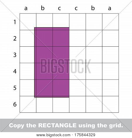 Finish the simmetry picture using grid sells, vector kid educational game for preschool kids, the drawing tutorial with easy game level for half of Square