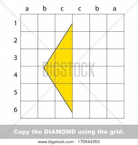 Finish the simmetry picture using grid sells, vector kid educational game for preschool kids, the drawing tutorial with easy game level for half of Rhombus