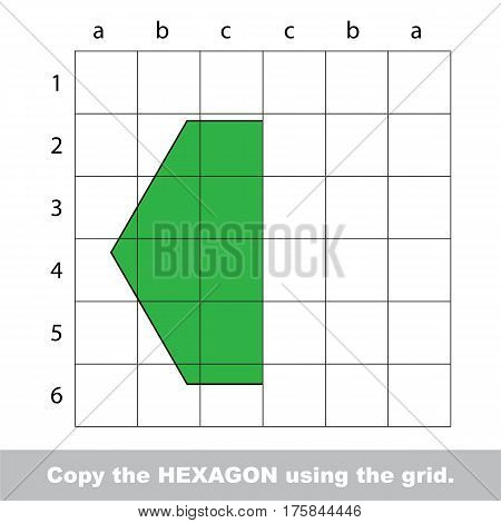 Finish the simmetry picture using grid sells, vector kid educational game for preschool kids, the drawing tutorial with easy game level for half of Hexagon