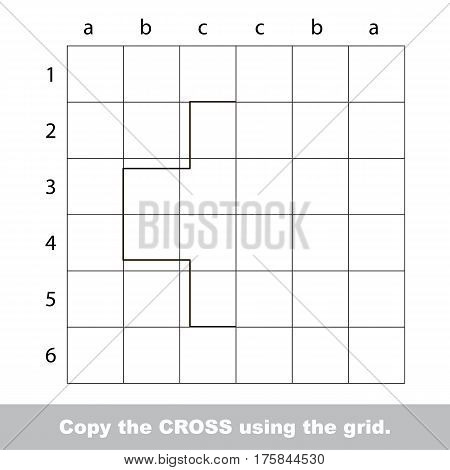 Finish the simmetry picture using grid sells, vector kid educational game for preschool kids, the drawing tutorial with easy game level for half of Cross.