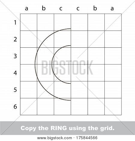Finish the simmetry picture using grid sells, vector kid educational game for preschool kids, the drawing tutorial with easy game level for half of Ring.