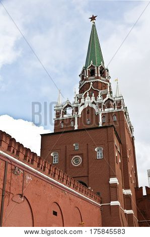 Moscow. Russia February 25. 2017: The Troitskaya Tower is a tower with a through-passage in the center of the northwestern wall of the Moscow Kremlin, which overlooks the Alexander Garden.