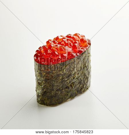 Japanese Sushi - Ikura Gunkan Sushi (Sushi with Salmon Roe) on White Background