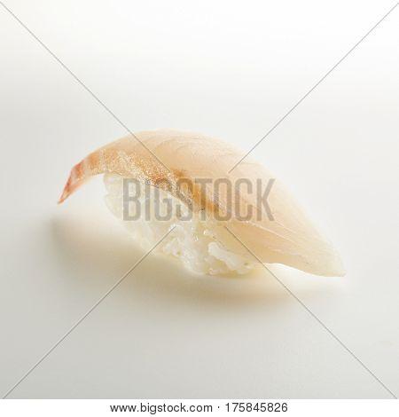 Japanese Sushi - Tai Nigiri Sushi (Sea Bass Sushi) on White Background