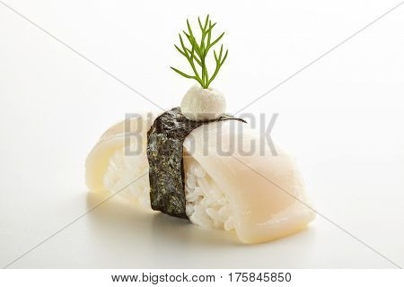Japanese Sushi - Hotate Nigiri Sushi (Scallop Sushi) with Cream Cheese on White Background
