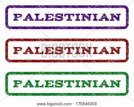 Palestinian watermark stamp. Text tag inside rounded rectangle frame with grunge design style. Vector variants are indigo blue, red, green ink colors. Rubber seal stamp with dirty texture.