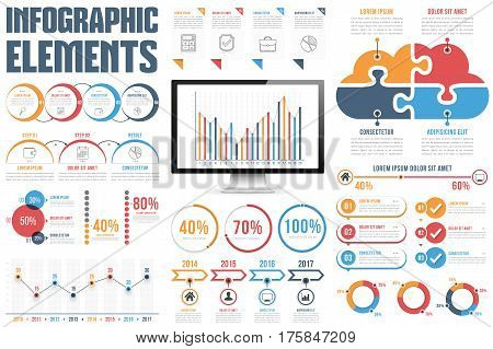 Infographic elements - process infographics, percents, bar chart and line chart, steps, options, timeline, vector eps10 illustration