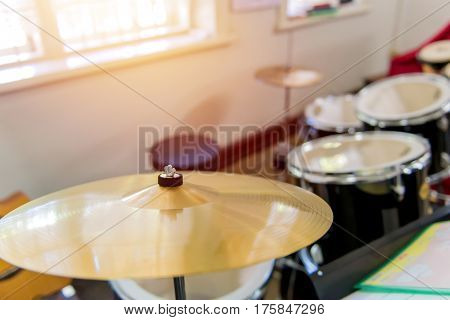 Detail Of A Drum Kit For Playing Music