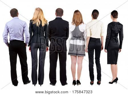 Back view of  business team looks at wall.  Teamwork business people looking at something. Rear view people collection.  backside view of person.  Isolated over white background.