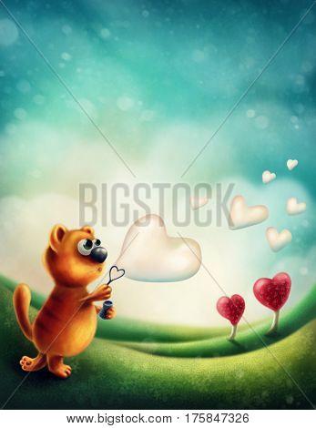 Red cat making heart soap bubble