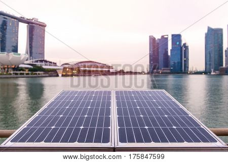 Solar Panels In Front Of Modern Office Building