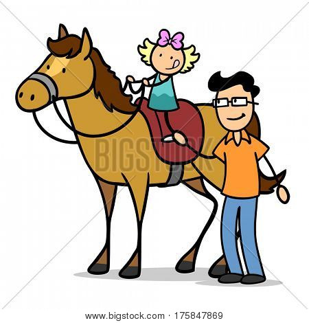 Cartoon father helping his daughter riding on a horse with saddle