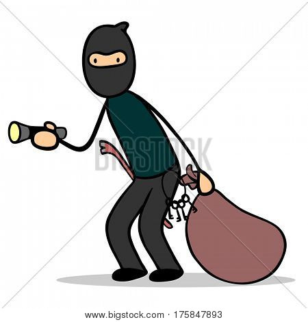 Cartoon housebreaker or burglar after theft with flashlight and crowbar