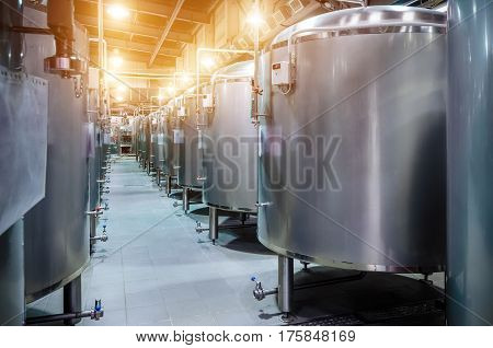 Modern Beer Factory. Small Steel Tanks For Fermentation Of Beer.