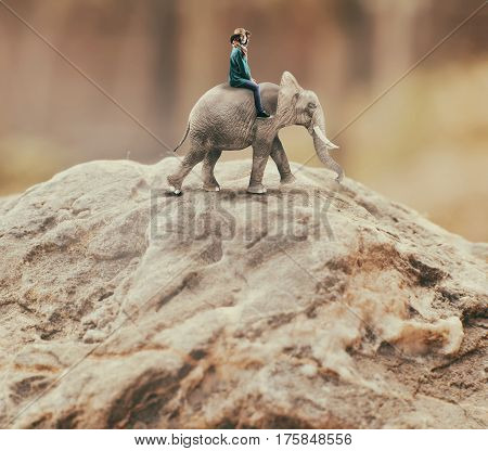 Young woman riding an elephant on a cliff of a mountain and admiring the view.