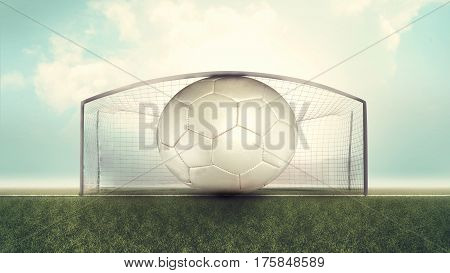 Oversized soccer ball stuck in goal. 3d render