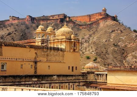 View Of Jaigarh Fort From The Courtyard Of Amber Fort, Rajasthan, India.