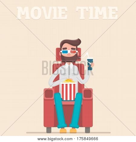 A man at the premiere of the film eats popcorn and drinks a drink. Vector illustration in a flat style.