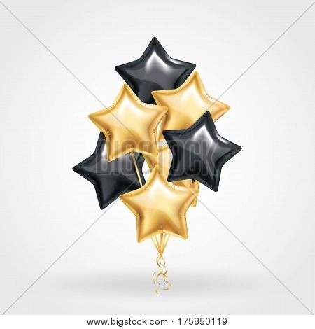 Gold black Star balloon on background. Party decor balloons event design. Shine Balloons isolated in air. Party decorations for wedding, birthday, celebration, love, valentines, advertising.