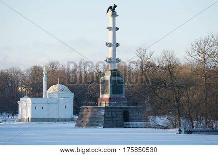 Turkish bath pavilion and the Chesme column in the November evening. Winter in Tsarskoye Selo