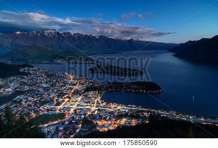 CityscapeBlue hour of queenstown with lake Wakatipu from the skyline south island new zealand