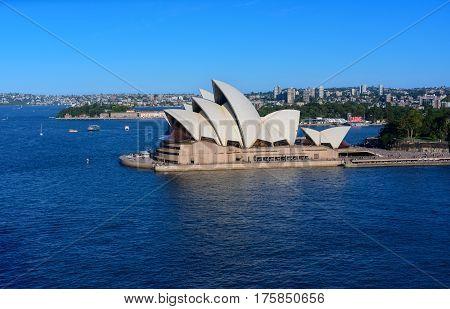 SYDNEY AUSTRALIA - March 122017: View of Sydney Opera House. Sydney Australia Over 10 millions tourists visit Sydney every year