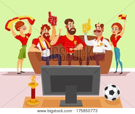 Vector cartoon illustration of a group of friends of football fans watching a football match on TV