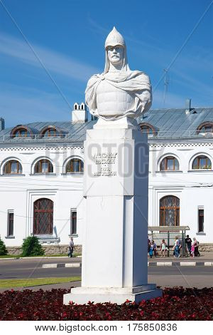 VELIKY NOVGOROD, RUSSIA - JUNE 02, 2016: The monument to Russian Prince Alexander Nevsky at the railway station on a sunny June day