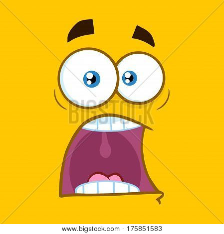 Scared Cartoon Square Emoticons With Panic Expression. Illustration With Yellow Background