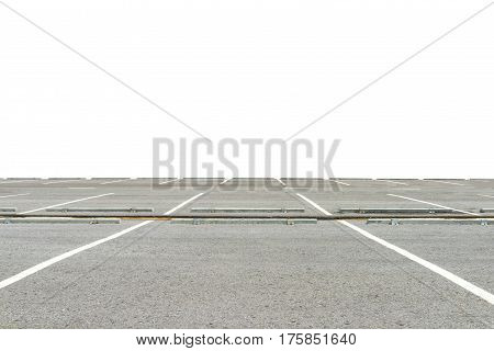 Empty parking lot isolated on white background. This has clipping path.