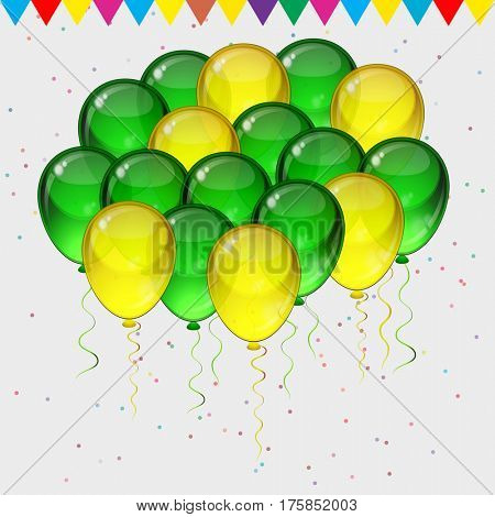 Birthday party  background - colorful festive balloons, confetti flying for celebrations card in isolated white background with space for you text.