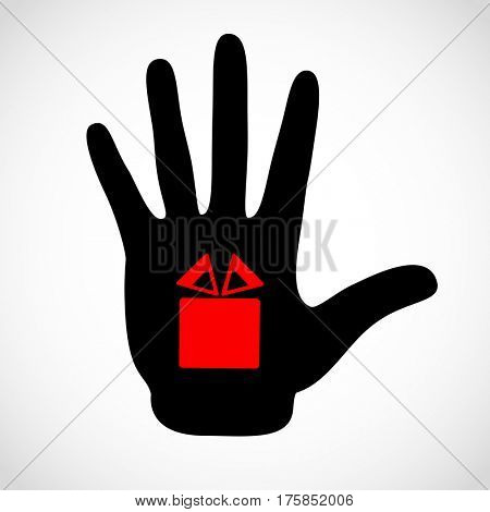 Black hand and gift box sign on the palm concept. Hands icon illustration. Symbol bonus, souvenir, present, donative, bounty.