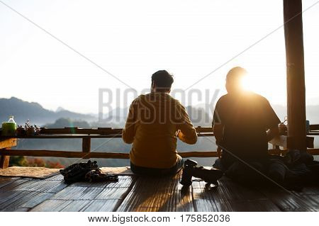 Two Best Friend Eating Noodle With Landscape Of Mountain In The Morning