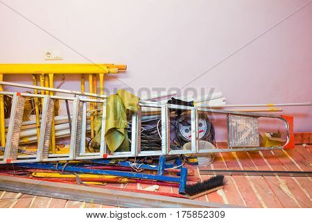 Electric concrete mixer in an apartment during on the renovation and construction ( remodel)