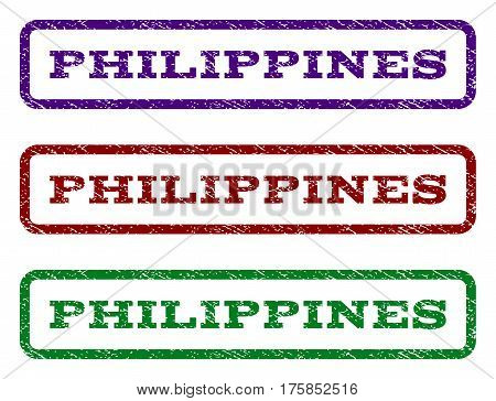 Philippines watermark stamp. Text tag inside rounded rectangle frame with grunge design style. Vector variants are indigo blue, red, green ink colors. Rubber seal stamp with scratched texture.