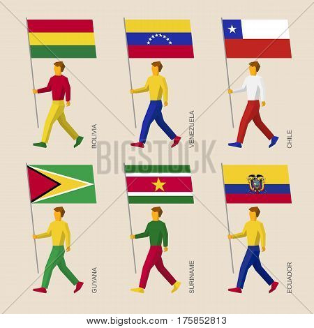 People With Flags: Bolivia, Venezuela, Chile, Guyana, Suriname, Ecuador