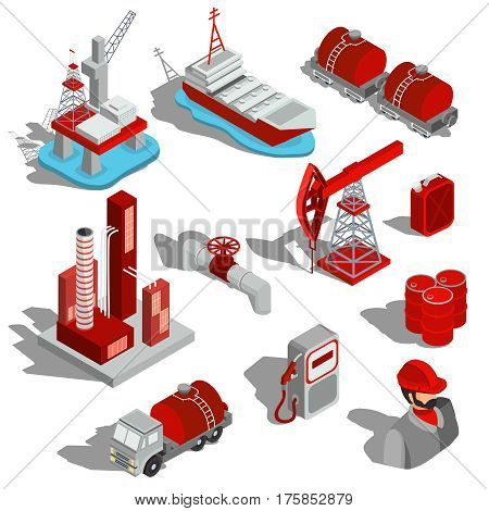 A set of isolated vector isometric illustrations of the oil industry. 3D icons for oil extraction, transportation, oil refinery, oil pipeline, barrels, fueling column