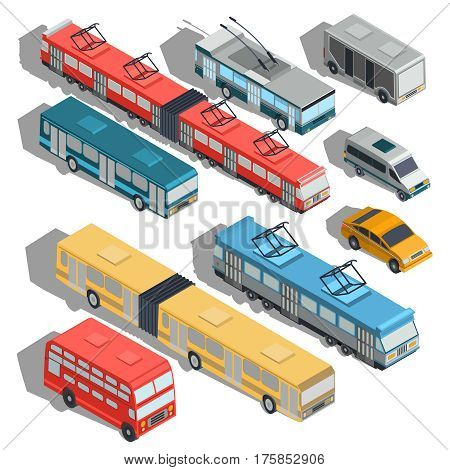 Set of vector isometric illustrations of municipal city transport buses, trolley bus, tram, taxi, shuttle taxi