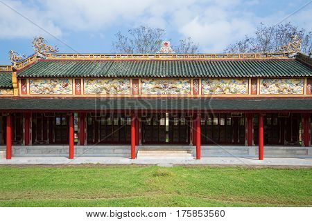 One of galleries of the imperial palace of the Forbidden Purple city. Hue, Vietnam