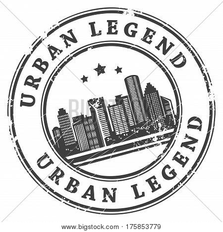 Black grunge rubber stamp with building shapes and the text Urban Legend written inside
