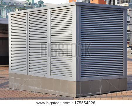 Industrial air conditioning and ventilation systems. Ventilation system of factory. Close up on HVAC as Heating Ventilating Air Conditioning. AC-heater Outdoor.
