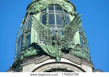 SAINT PETERSBURG, RUSSIA - MARCH 05, 2017: American eagle on the building company