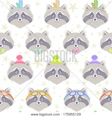 Seamless pattern with character cute and funny raccoon in cartoon style. Vector illustration. Cool stylish wallpaper