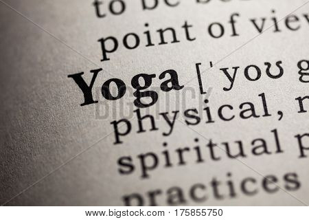 Fake Dictionary Dictionary definition of the word yoga.