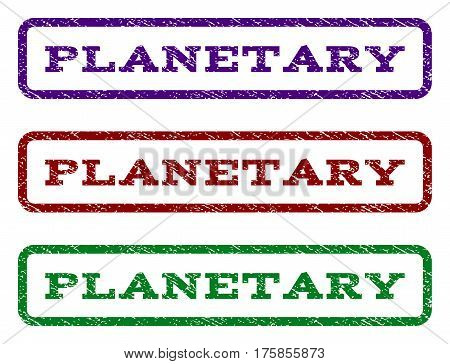Planetary watermark stamp. Text tag inside rounded rectangle frame with grunge design style. Vector variants are indigo blue, red, green ink colors. Rubber seal stamp with unclean texture.